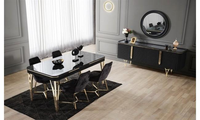 Alinda Dining Room Set, Mirror Dining Room Table